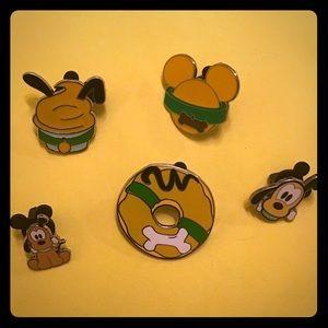 Set of Five Pluto Dog Disney's Hidden Mickey Pins